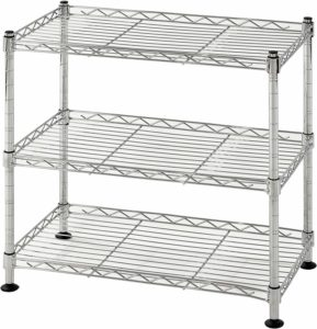 "Muscle Rack WS181018-C Steel Adjustable Wire Shelving, 3 Shelves, Chrome, 18"" Height, 18"" Width, 264 lb. Load Capacity"
