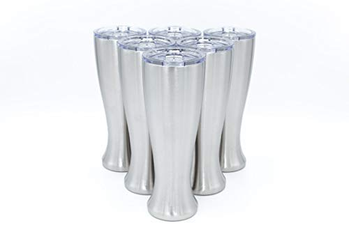Mason Forge Stainless Steel Double Wall Vacuum Insulated 14 Ounce Pilsner Style Beer Tumbler Sweat Free Double Wall Vacuum Insulated Beer Tumbler Perfect for COLD or HOT beverages, wine (Set of 6)
