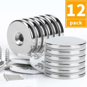 Grtard 12 Pack Neodymium Magnets, Rare Earth Magnets, Strong Magnets, Fridge, DIY, Scientific, Office Magnets, with 6 Double-Side Adhesive and 6 Screws