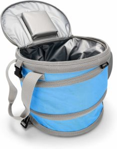 Camco Pop-Up Cooler - Lightweight, Waterproof and Insulated Pops Open for Use and Collapses Flat for Storage | Perfect for the Beach, Pool, Camping, Tailgating and Travel - Blue (51995)