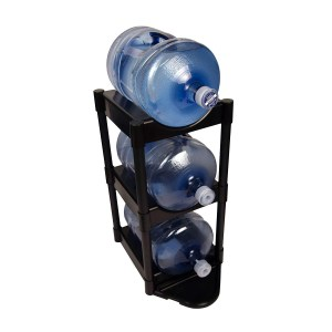 Bottle Buddy 3 Tray Water Bottle Racking Storage System with Floor Protector, 3-Tier, Black