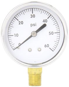 "PIC Gauge S101D-254D 2.5"" Dial, 0/60 psi Range, 1/4"" Male NPT Connection Size, Bottom Mount Single Scale Dry Pressure Gauge with a Black Steel Case, Brass Internals, Chrome Bezel, and Plastic Lens"