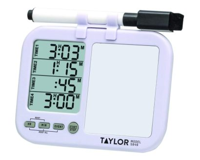 Taylor Precision Products Four-Event Kitchen Timer with Whiteboard