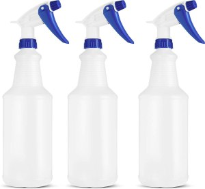 BAR5F Empty Plastic Spray Bottles 32 Ounce, Professional Chemical Resistant with White-Blue Sprayer for Chemical and Cleaning Solution, Heavy Duty, Adjustable Head Sprayer Fine to Stream (Pack of 3)