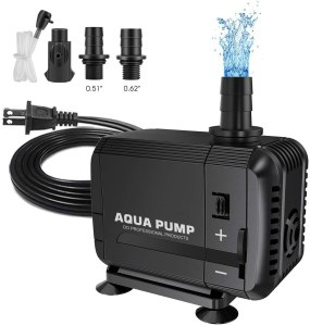 UPMCT 60-400 GPH Adjustable Submersible Water Pump, Ultra Quiet High Lift Detachable Cleanable Water Pump with 2 Nozzles for Aquarium, Pond, Statuary, Hydroponics