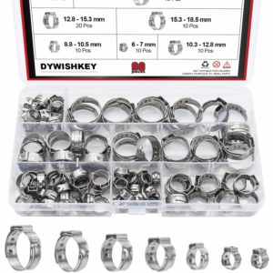 DYWISHKEY 90 PCS 6-21mm 304 Stainless Steel Single Ear Stepless Hose Clamps