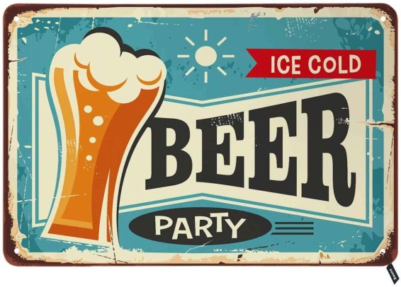 Swono Beer Party Tin Signs,Ice Cold Beer Service Vintage Metal Tin Sign for Men Women,Wall Decor for Bars,Restaurants,Cafes Pubs,12x8 Inch
