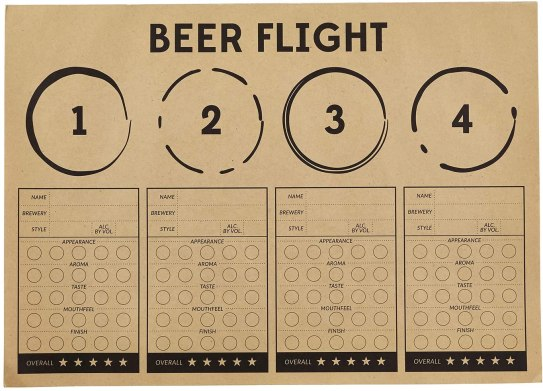 SB Design Studio Sips Recyclable Brown Kraft Paper Party Placemats, 24-Count, Beer Flight