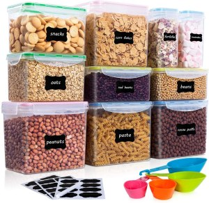 Vtopmart Airtight Food Storage Containers 10Pcs Set, Flour Containers, Great for Sugar and Baking Supplies, Plastic PBA Free Kitchen Pantry Bulk Food Storage Canisters, Include 24 Labels