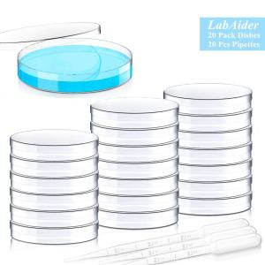 20 Pack Sterile Plastic Petri Dishes with Lid, 90mm Dia x 15mm Deep with 20 Plastic Transfer Pipettes (10Pcs3ml,10Pcs2ml)