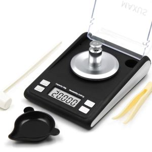 MAXUS Dante Milligram Reloading Scale 50g x 0.001g Includes 20g Calibration Weight, Scoop, Powder Pan and Tweezers Read in Grain Gram Carat Pennyweigh oz ozt High Precision Jewelry Scale (Black)