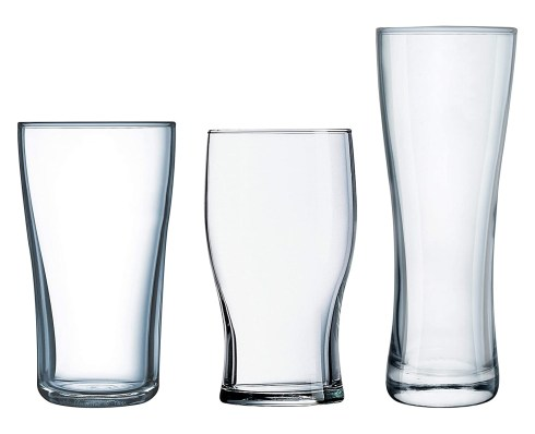 Luminarc Craft Brew 12-Piece Masters Set, Midland Pub, Oslo Pilsner, 4-16 Ounce Tulip Pint Glass, Mixed, Clear