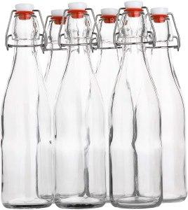 Flip Top Glass Bottle [500 ml/ 16 fl. oz.] [Pack of 6] – Reusable Swing Top Brewing Bottle with Stopper for Beverages, Oil, Vinegar, Kombucha, Beer, Water, Soda, Kefir – Airtight Lid & Leak Proof