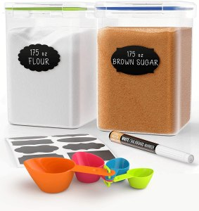 Extra Large Tall Food Storage Containers 175oz, For Flour & Sugar - Airtight Kitchen & Pantry Organization Bulk Food Storage, BPA-Free - 2 PC Set - Canisters with Scoops, Pen & Labels - Chef's Path