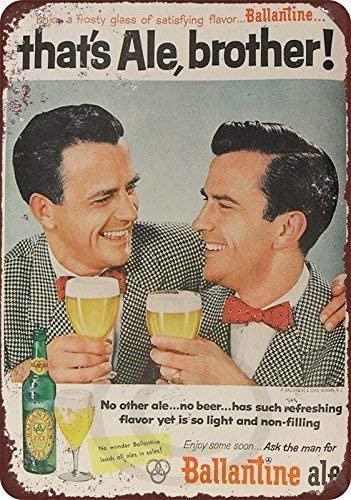 1954 Ballantine Ale Beer Metal Signs Decor 12x16 Retro Metal Vintage Sign