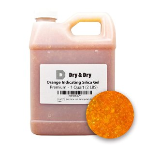 "Dry & Dry"" [1 Quart Premium Orange Indicating Silica Gel Desiccant Beads(Industry Standard 2-4 mm) - Rechargeable Silica Gel Beads(2 LBS)"