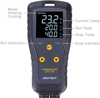 DIGITEN DTC101 Digital Thermostat Outlet Thermometer LCD Simple-Stage Plug-in Temperature Controller Heating or Cooling 110V 10A for Greenhouse Mushroom Terrarium Reptile Fermentation Homebrew