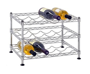 """Muscle Rack WBS181212 12-Bottle Chrome Wine Rack, 18"""" by 12"""", 12"""" Height, 18"""" Width, 330 Pounds Load Capacity"""