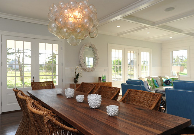 Cottage Dining Room With Glass Bubble Cer Chandelier