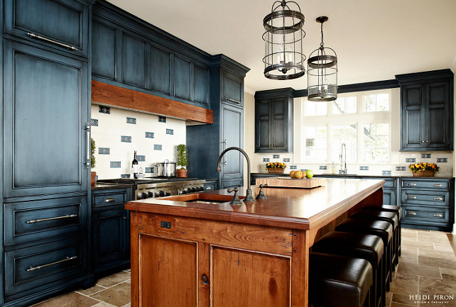 blue and distressed kitchen cabinet