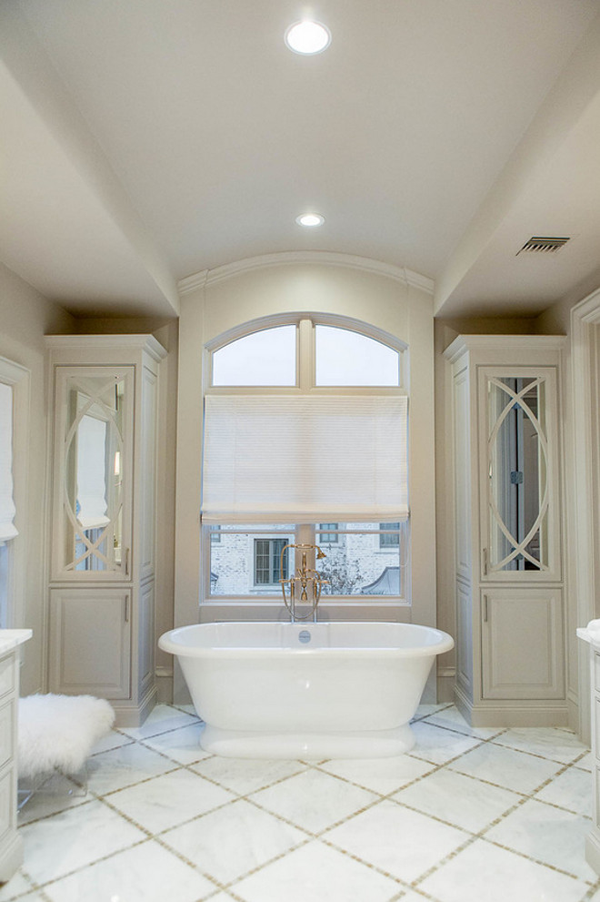 Bathroom Cabinets flanking tub. Bathroom Cabinets flanking freestanding tub. Bathroom Cabinets flanking bathtub. Bathroom Tall Cabinet. Bathroom linen cabinet. #BathroomCabinetsflankingtub #BathroomCabinet #BathroomlinenCabinets #Cabinetsbytub #bathtubcabinet Platinum Series by Mark Molthan