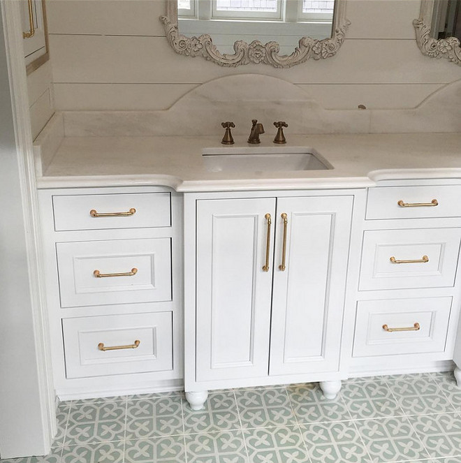 """Neutral Cement Tile. This bathroom features neutral cement tiles from """"Cement Tile Shop"""", large plank walls and white inset cabinetry. Bathroom with neutral cement tile by Cement Tile Shop. Bathroom cement tile. #Bathroomcementtile #CementTileShop #Neutralcementtile #cementtileideas Artisan Signature Homes."""