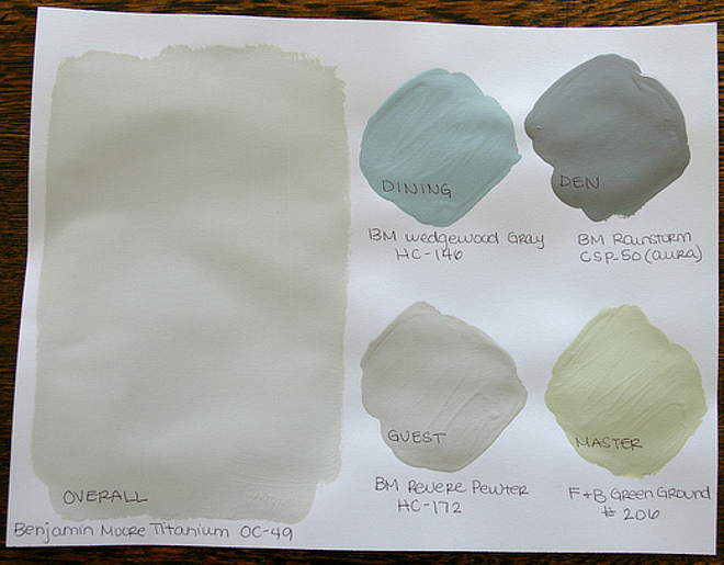 Real Paint Color Shades for Real Homes. Paint Color Palette for the entire home: Main Rooms: Benjamin Moore Titanium OC-49. Dining Room: Benjamin Moore Wedgewood Gray HC-146. Den: Benjamin Moore Rainstorm CPS-50 Aura. Guest bedroom: Benjamin Moore Revere Pewter HC-172. Master Bedroom: Farrow and Ball Green Ground 206. #BenjaminMooreTitanium #BenjaminMooreWedgewoodGray #BenjaminMooreRainstorm #BenjaminMooreReverePewter #BenjaminMooreReverePewterHC172 #FarrowandBallGreenGround Via Bryn Alexandra.