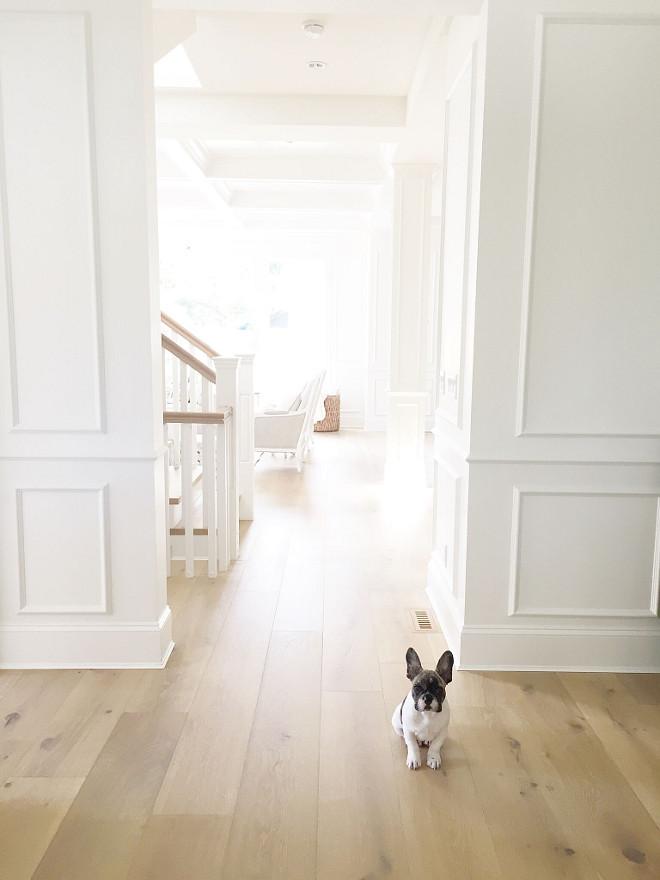 Oak Flooring. White oak flooring. Home interiors with White oak flooring and white paneled walls. Pravada Floors- Artistique Collection in Matisse. #Home #interiors #Whiteoak #flooring #hardwood #hardwoodfloor #whitepaneledwalls #paneledwalls jshomedesign