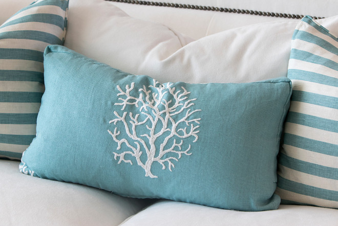 Coastal pillows. This pillow features a white tree silhouette against a soft turquoise fabric. #coastal #pillow #pillow