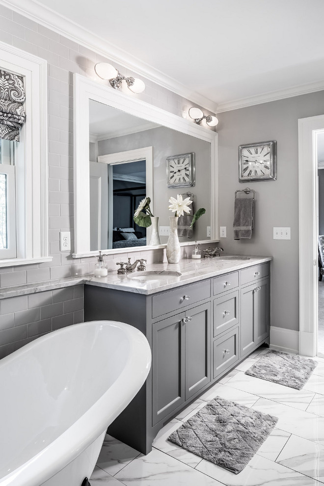 What Colours Go With Grey Walls In Bathroom
