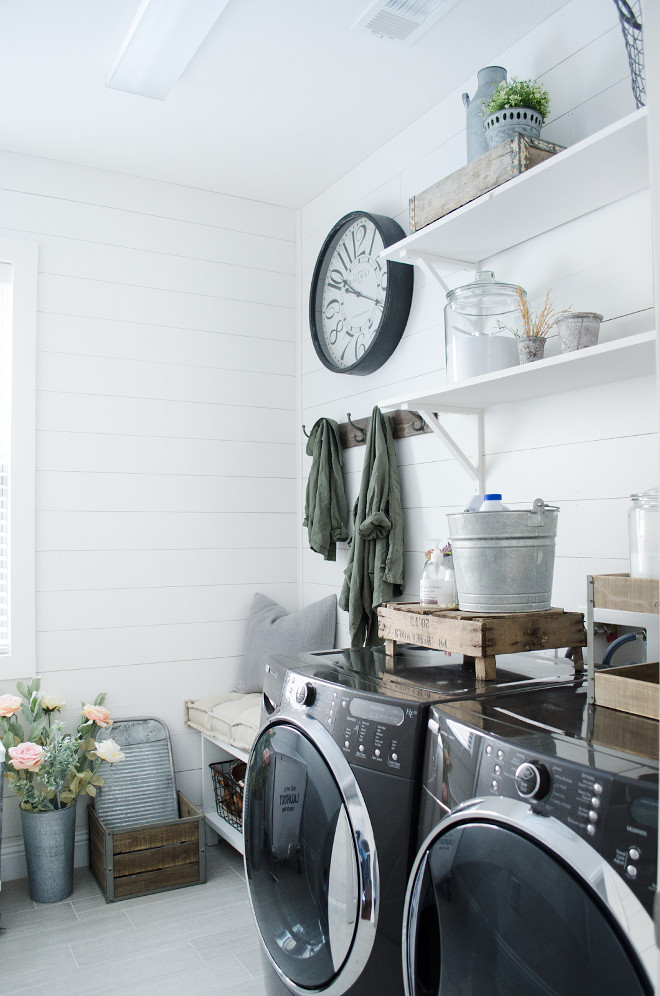 white ship lap laundry room