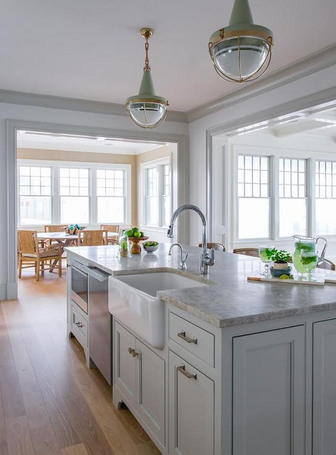 Ben Moore Gray Owl Kitchen With Quartzite Countertop
