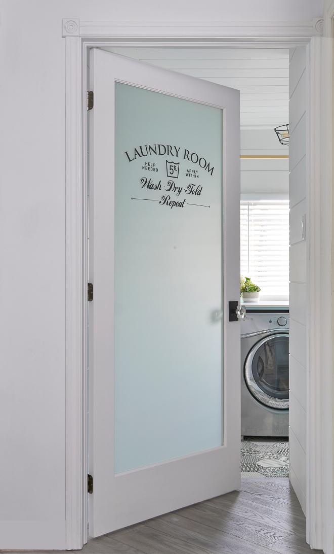 Laundry room door. Laundry room door ideas. Glass and stencil Laundry room door #Laundryroomdoor #Laundryroom Soda Pop Design Inc.