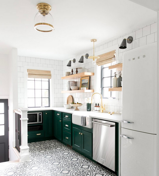 Benjamin Moore 2047-10 Forest Green. Kitchen Cabinet paint color is Benjamin Moore 2047-10 Forest Green. Cement tile is from Cement Tile Shop. Benjamin Moore 2047-10 Forest Green. Benjamin Moore 2047-10 Forest Green. Benjamin Moore 2047-10 Forest Green #BenjaminMooreForestGreen Studio McGee