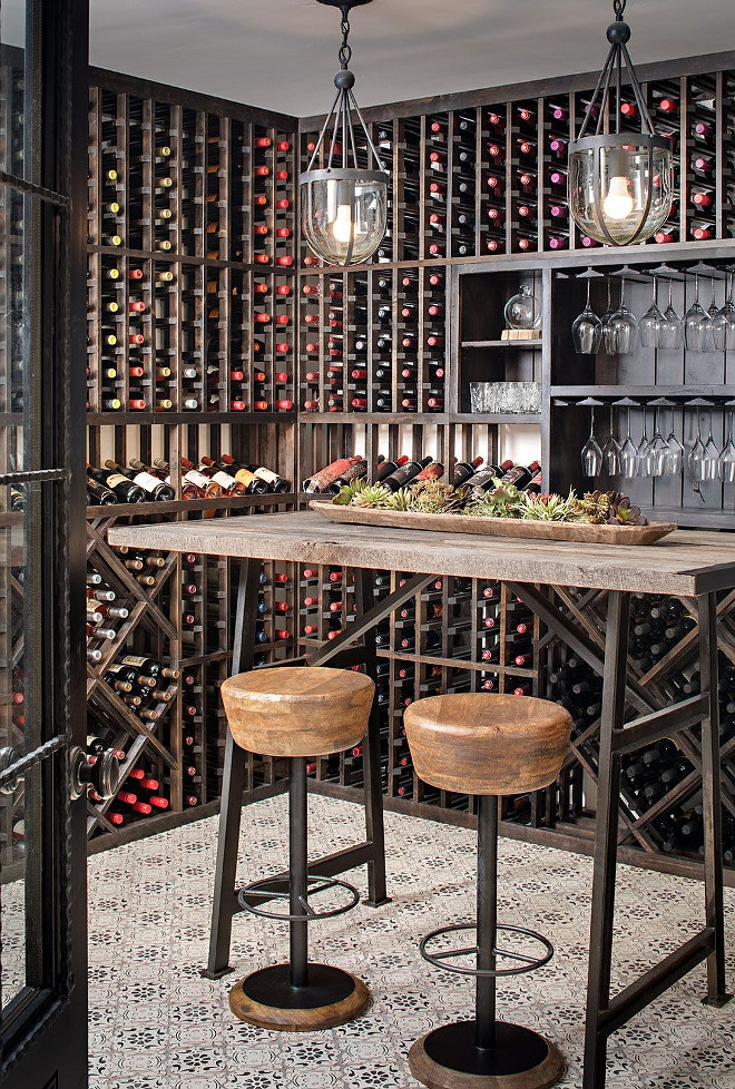 Farmhouse Wine Room. Beautiful Industrial-farmhouse wine room with patterned tile. The patterned tile is Mediterranean 26 tile​ from Tabarka Studio​. Farmhouse Wine Room. Farmhouse Wine Room. Farmhouse Wine Room #FarmhouseWineRoom #Farmhouse #WineRoom #patternedtile #industrial Tracy Lynn Studio