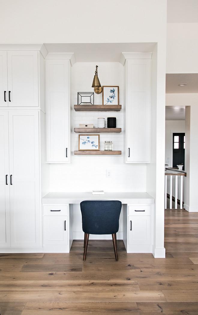 Kitchen Desk with Floating Shelves. Farmhouse Kitchen Desk with Floating Shelves. Farmhouse Kitchen Desk with Floating Shelves #FarmhouseKitchen #KitchenDesk #FloatingShelves Sita Montgomery Interiors