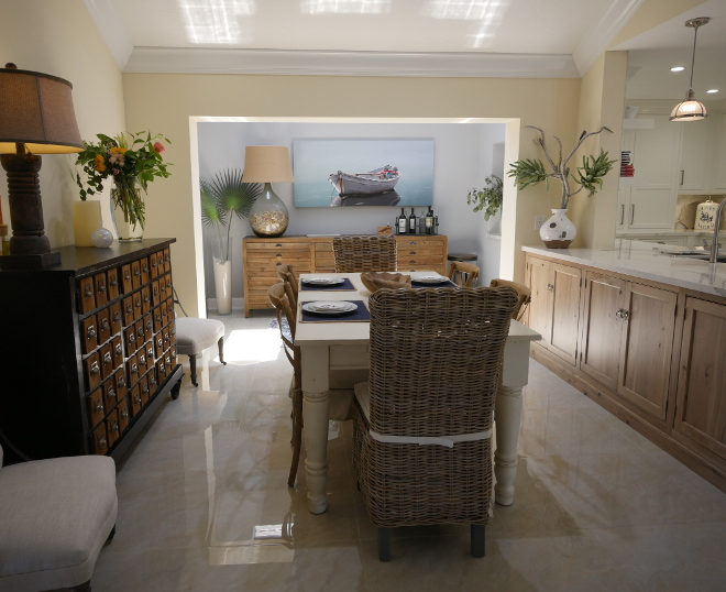 Coastal Breakfast Room. The paint on walls are similar to Benjamin Moore Winter Wheat. Coastal Breakfast Room. Coastal Breakfast Room Ideas #CoastalBreakfastRoom Waterview Kitchens