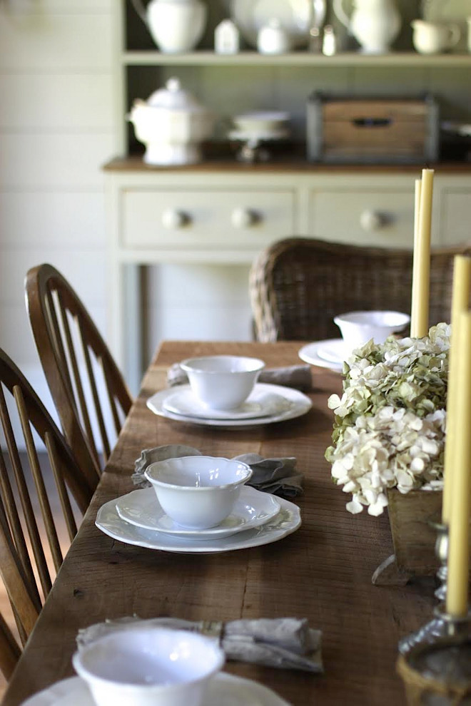 DIY Farmhouse Table with white china. Home Bunch's Beautiful Homes of Instagram @blessedmommatobabygirls