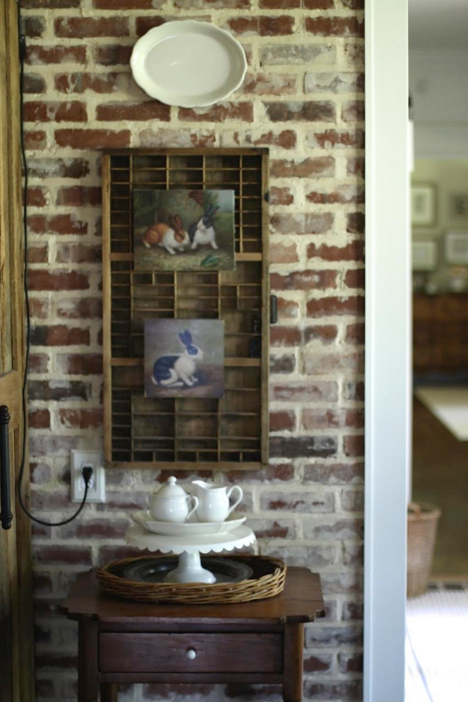 Exposed Brick Walls with trim. Farmhouse with Exposed Brick Walls with trim. Exposed Brick Walls with trim #ExposedBrick #Walls #trim Home Bunch's Beautiful Homes of Instagram @blessedmommatobabygirls