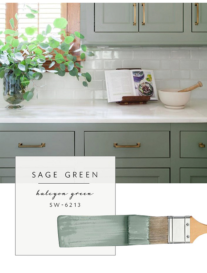 Sage Green Paint Color. Sherwin Williams Halcyon Green. Sherwin Williams SW 6213 Halcyon Green Alternative to white cabinet paint color #SherwinWilliamsHalcyonGreen Via Coco Kelley