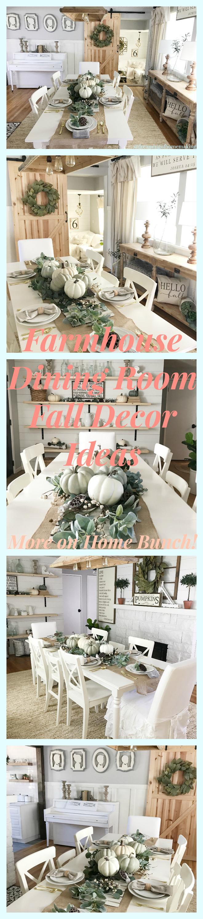 Farmhouse Dining room Fall decor ideas. Farmhouse Dining room Fall decor. Farmhouse Fall decor #FarmhouseFalldecor #Farmhouse #Falldecor #fall Home Bunch