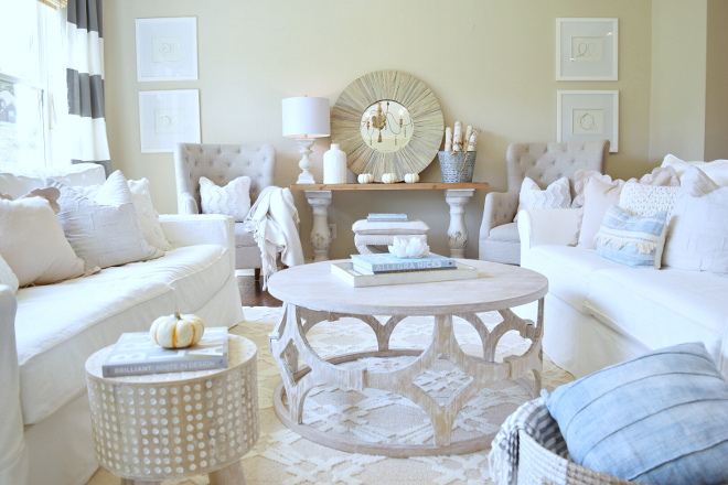 Neutral Living room decor. Neutral living room with whites, tans and blue #livingroom #neutralliving @sugarcolorinteriors