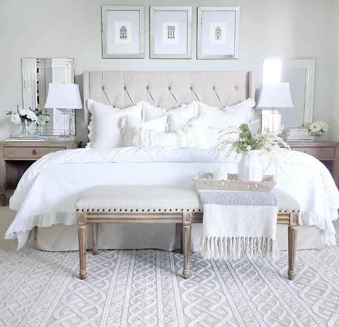 Neutral bedroom decor ideas. Neutral bedroom with tufted heardboard, bench, whites, light grays and natural linen. #bedroom #neutralbedroom @mytexashouse