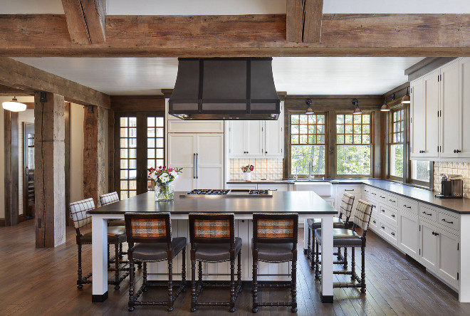 Rustic Kitchen. Rustic Kitchen Rustic Kitchen. Rustic white kitchen with extensive usage of reclaimed timber beams and leathered countertop. Rustic Kitchen. Rustic Kitchen. Rustic Kitchen. Rustic Kitchen #RusticKitchen John Kraemer & Sons