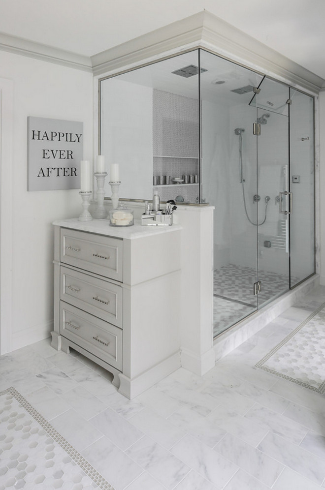 Shower. Double shower enclosure with custom cabinet for extra bathroom storage. Shower. Double shower enclosure. Shower. Double shower enclosure #Shower #Doubleshowerenclosure Hartley and Hill Design