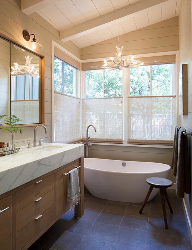 Tan shiplap. Tan shiplap. Modern farmhouse bathroom features Tan shiplap. Tan shiplap. Tan shiplap Neutral Tan shiplap. Tan shiplap #Tanshiplap Jennifer Robin Interiors