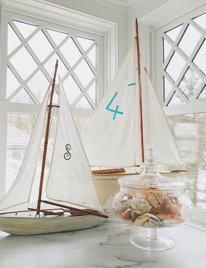 Coastal Decor. Coastal Decor Coastal Decor. I'm a serious sucker for vintage boats...My favorites are from Indigo Sea shop in LA and a Country Look In Antiques in excelsior. And sea shells. Always! Coastal Decor #CoastalDecor Beautiful Homes of Instagram @SweetShadyLane