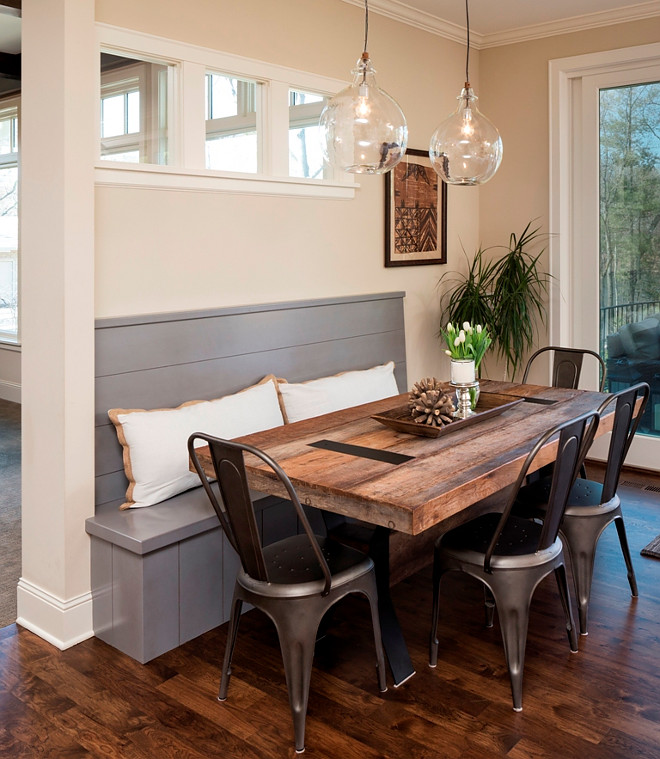 Farmhouse Breakfast Nook with farmhouse dining table and tolix style metal chairs. Farmhouse breakfast nook with built-in shiplap-inspired banquette, farmhouse dining table and tolix style metal chairs #shiplap #banquette #FarmhouseBreakfastNook #farmhouse #breakfastnook #farmhousediningtable #tolix #metalchairs Great Neighborhood Homes