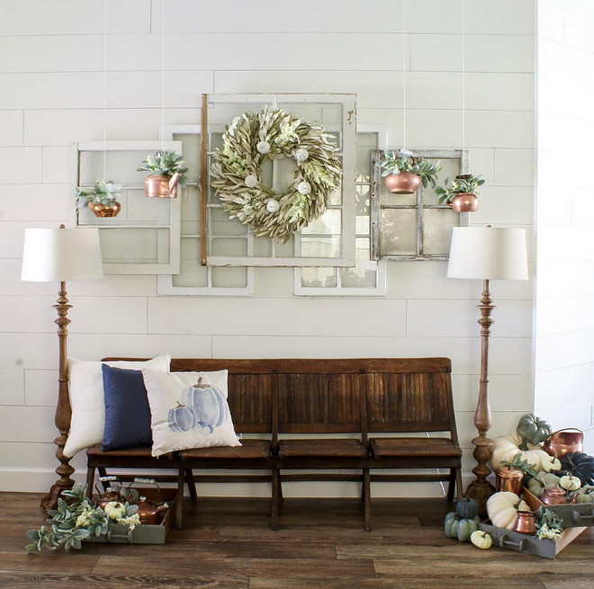 Farmhouse Foyer Fall Decor with shiplap, antique foyer bench and diy projects. Home Bunch Beautiful Homes of Instagram @cottonstem