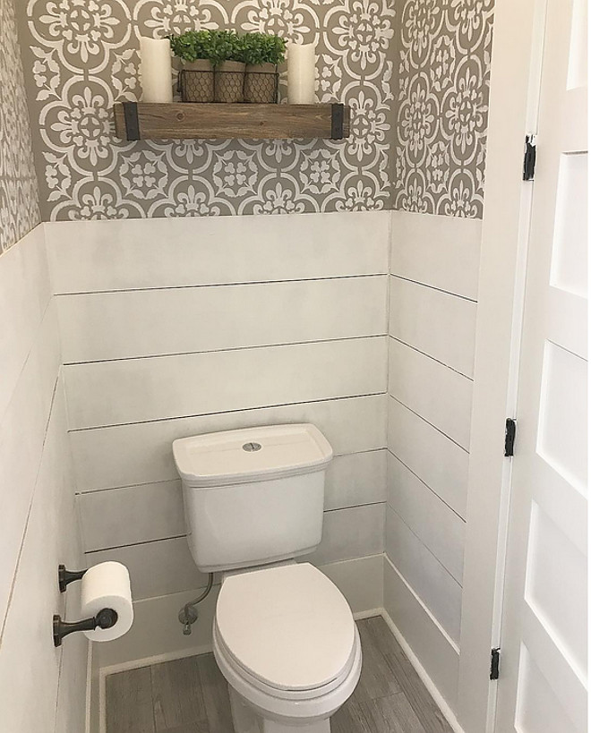 Farmhouse bathroom with half wall shiplap wainscoting and stenciled walls. Farmhouse bathroom with half wall shiplap wainscoting and stenciled walls. Farmhouse bathroom with half wall shiplap wainscoting and stenciled walls. Farmhouse bathroom with half wall shiplap wainscoting and stenciled walls. Farmhouse bathroom with half wall shiplap wainscoting and stenciled walls. Farmhouse bathroom with half wall shiplap wainscoting and stenciled walls #Farmhousebathroom #halfwallshiplap #shiplap #shiplapwainscoting #wainscoting #stenciledwalls Home Bunch Beautiful Homes of Instagram @mygeorgiahouse